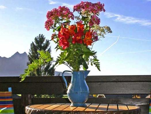 Ausblick vom Balkon, im Vordergrund eine Vase mit Blumen auf den Tisch, im Hintergrund die Berge. (© Gästehaus Horizont)