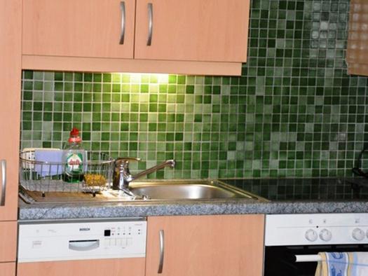 Küche mit Geschirrspüler, Spülbecken, Herd. (© Pöllmann)
