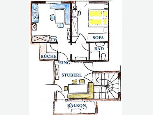 Skizze von der Wohnung, Raumaufteilung. (© Familie Laireiter)