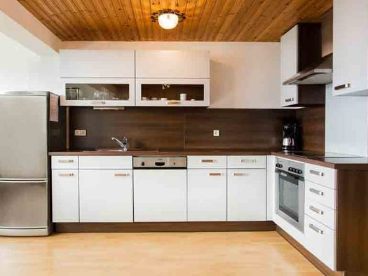 Küche mit Kühlschrank, Spüle, Geschirrspüler, Kaffeemaschine, Herd. (© Wiener)
