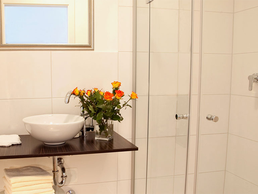 bathroom with sink, nearby a flower vase, mirror, shower on the side. (© Wieneroither)