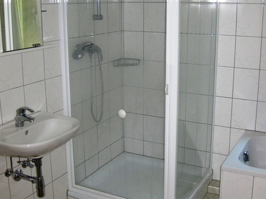On the side a sink, mirror, shower cubicle, small part of the bathtub on the side. (© Weber)