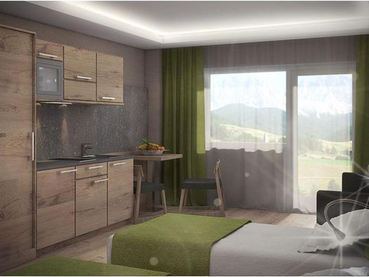 App. O: Doppelbetten mit Küchenzeile