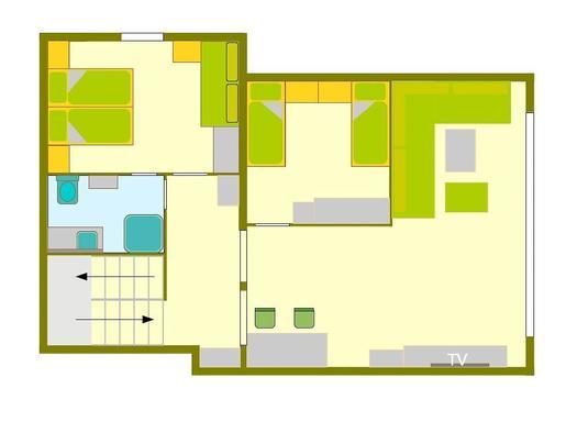 Grundriss Ferienhaus mit 2 Schlafzimmer OG (© Hermann Hanetseder)