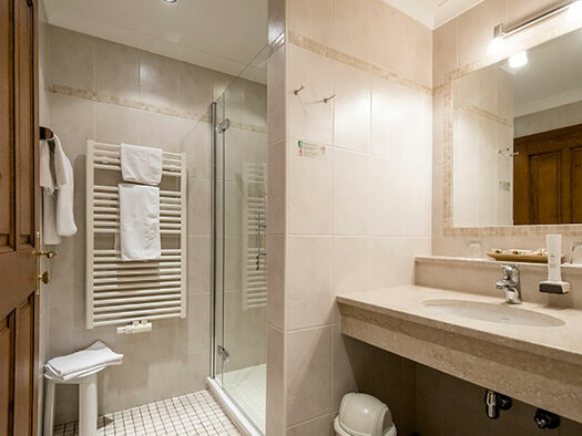 on the right lavatory with big mirror, behind a shower and and toweldryer. (© Karin Lohberger)