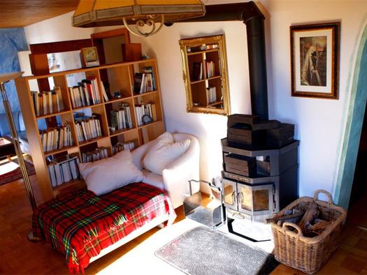 Wohnbereich mit Bücherregal, Couch, Kachelofen daneben ein Korb mit Holz, im Hintergrund Bild und Spiegel an der Wand. (© Riess)