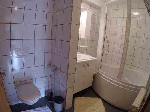 Badezimmer, Toilette, Waschbecken mit Spiegelschrank, Dusche. (© Wiener)