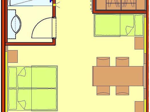 Zimmer mit Doppelbett oder zwei Einzelbetten und weitere zwei Einzelbetten, Badezimmer mit Dusche, separate Toilette, Schrankraum, TV,  Kommunikationstisch sowie Balkon oder Terrasse mit atemberaubenden Panorama-Weitblick zur Donau und in die Strudengauer Naturlandschaft.