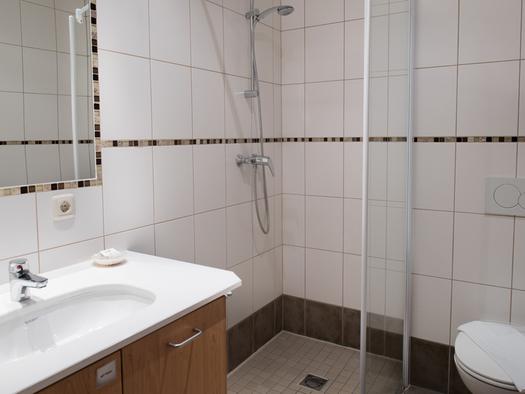 Badezimmer mit Waschbecken, Dusche und Toilette. (© Hotel Prielbauer)