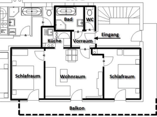 Plan - Room layout of the apartment. (© Weber)