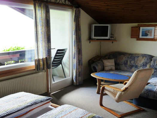 sleep and living area, double bed, couch, table, chair, balcony door, big window. (© Ellmauer)