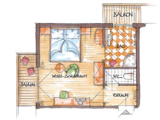 Skizze Doppelzimmer \