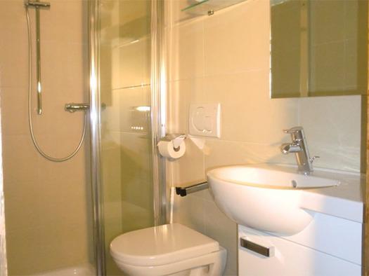 seitlich ein Waschbecken, Toilette, im Hintergrund die Dusche. (© Pichler)