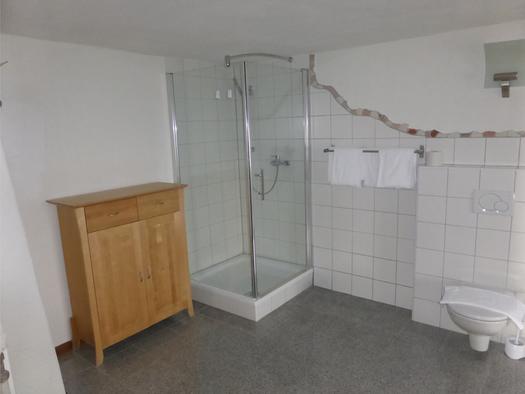 Badezimmer mit Dusche, Kommode, Toilette. (© Taubenberger)