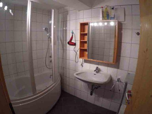 Badezimmer mit Dusche, Waschbecken, Spiegelschrank, Föhn. (© Wiener)