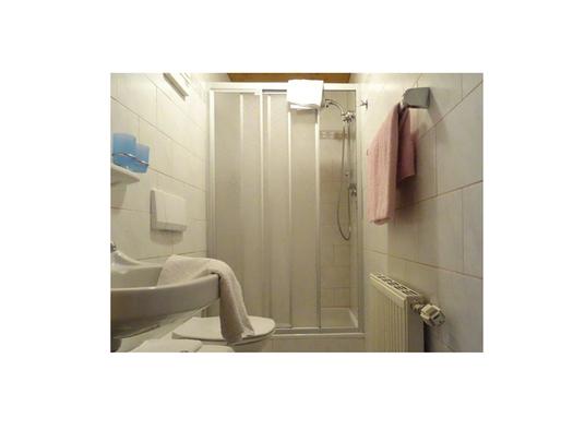 Badezimmer mit Waschbecken, Toilette, im Hintergrund Dusche. (© Feusthuber)