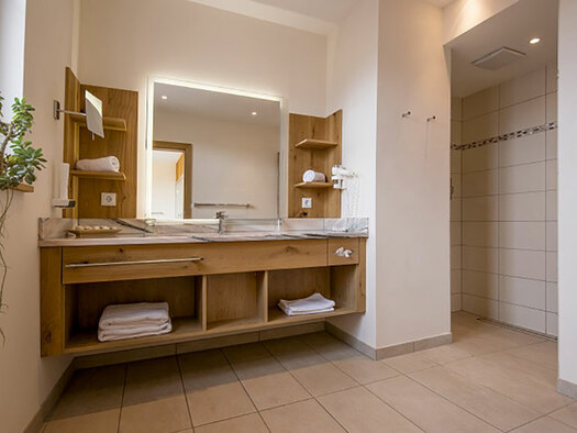 View to the lavatory, mirror and the shelf. (© Karin Lohberger)