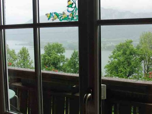 view through the balcony door, trees and the lake. (© Edtmeier)