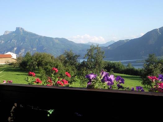 Blick vom Balkon auf die Wiesen/Bäume, dahinter der See und die Berge. (© Spielberger)