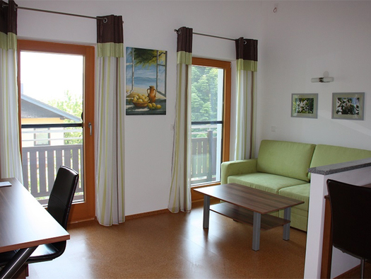 couch with table on the side, desk with chair on the over , balcony doors in the background. (© Schnöll)
