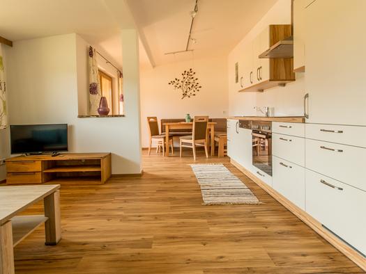 Wohnbereich, seitlich mit einer Küche, Herd, im Hintergrund Essplatz mit Eckbank Tisch und Stühle, im Vordergrund Couchtisch Fernseher. (© Mayrhofer)