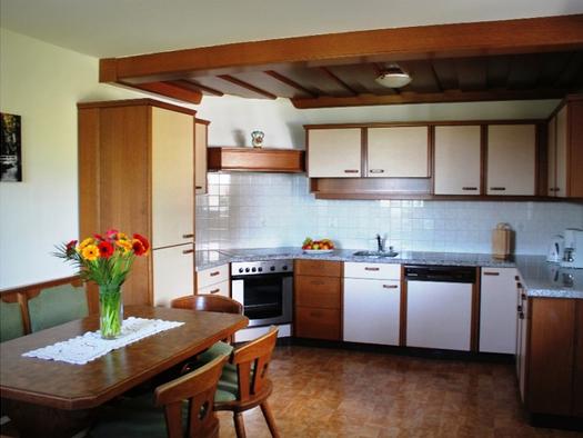 im Hintergrund die Küche mit Herd, Spüle, Geschirrspüler, Wasserkocher, Kaffeemaschine. (© Winter)