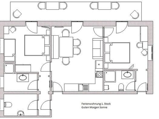 Plan von der Raumaufteilung der Ferienwohnung. (© Winter)