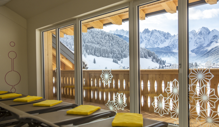 relaxation room with winter mountain view
