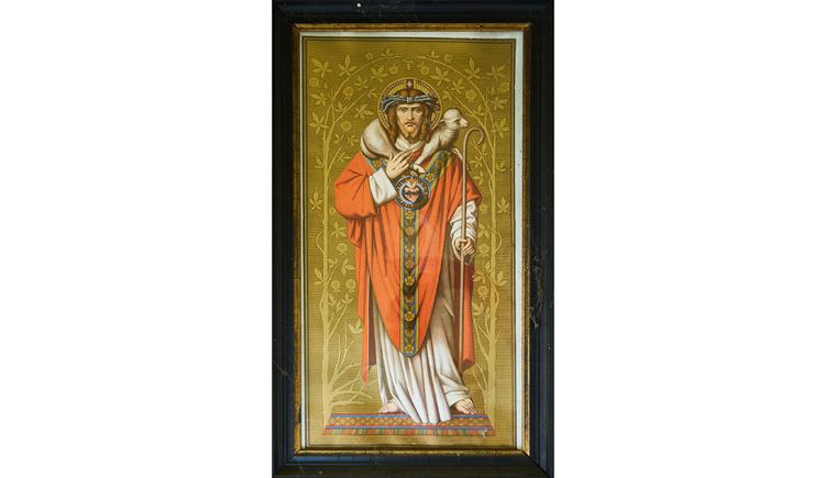 Blick auf ein Gemälde mit einer Heiligenfigur