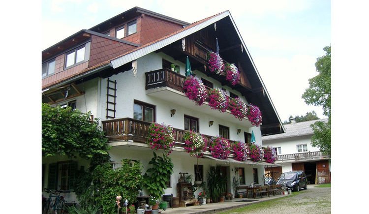 View of the house with many balcony flowers, on the side trees