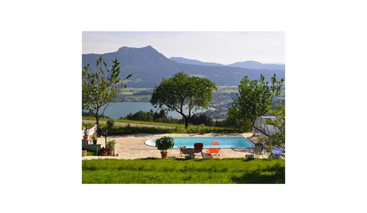 Blick auf den Pool mit Liege, im Hintergrund Bäume, See und die Berge