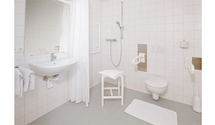 unterfahrbares Waschbecken, Dusche mit Haltegriffe und Sitzhocker, Haltegriffe bei der Toilette
