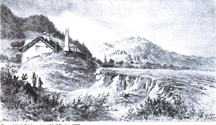 Bauernhügel, Zeichnung v. Adolf Fischer 1899