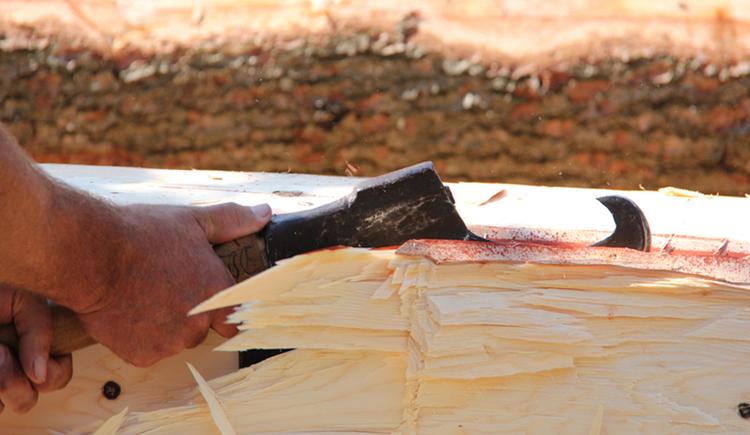 Hand, ax, wood