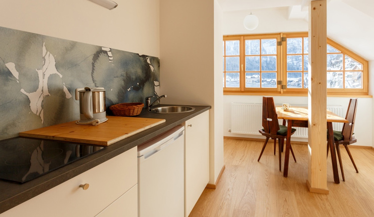 The small kitchen of the Comfort Studio of the Apartment Hallberg