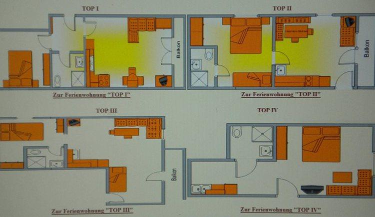 Planübersicht der Ferienwohnungen Jedinger in Walsberg.