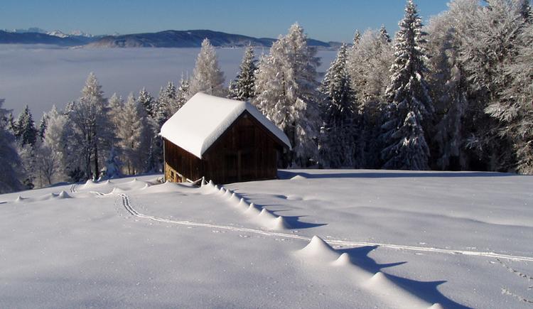 Hütte im Schnee am Gahberg (© Karl Gruber)
