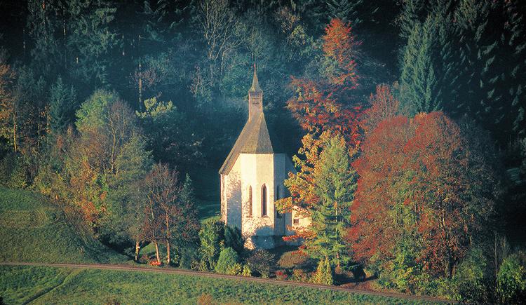 Die Rückseite der Konradkirche umrahmt von bunten herbstlichen Blättern in der Bildmitte. Der Wanderweg führt vor/hinter der Kirche vorbei.