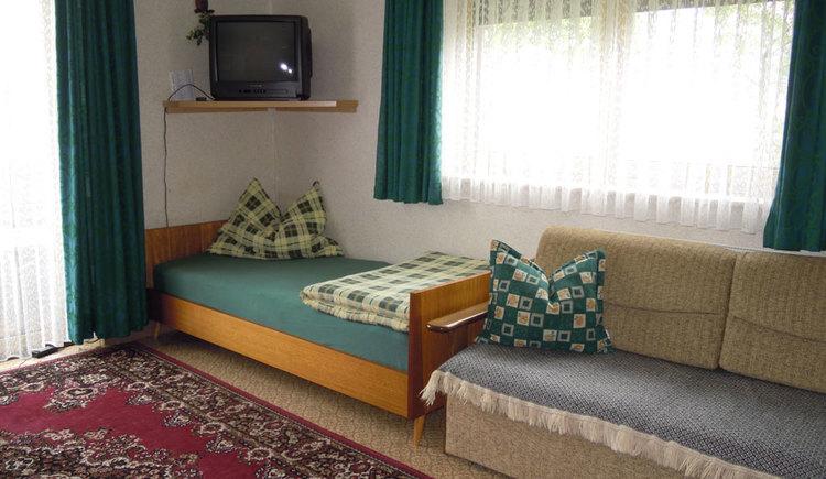 Wohnbereich mit Bett, Couch, im Hintergrund Balkontür und Fenster, Fernseher auf einem Wandregal
