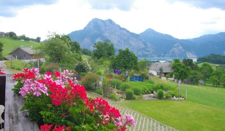 Von Terrasse auf Traunstein und Traunsee (© Ferienwohnung Burgi)