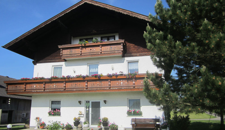 Blick auf das Haus mit Balkon und Blumen, seitlich ein Baum