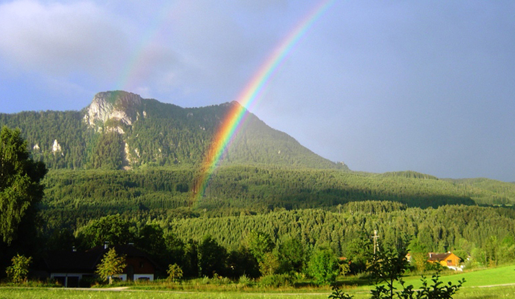 Landscape with meadows, rainbow and mountain