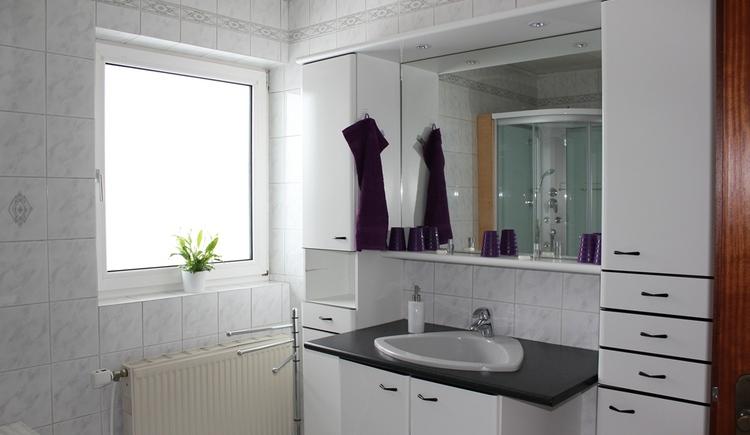 Großes Gemeinschaftsbadezimmer mit Dusche und WC