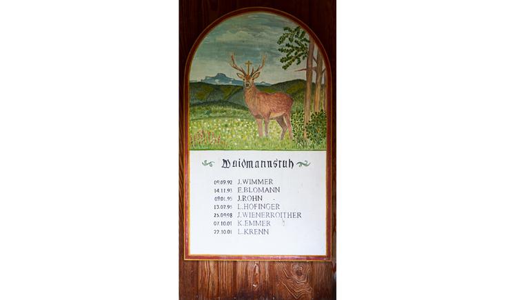 Blick auf die Gedenktafel mit einer Zeichnung vom einem Hirsch, darunter Text, im Vordergrund Kerzen
