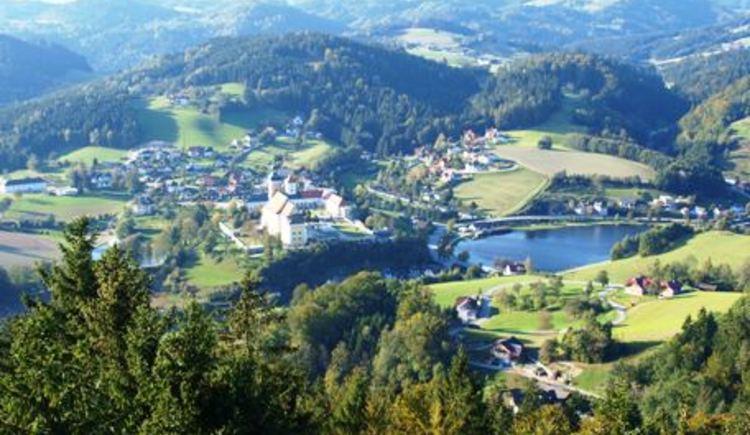 Blick von der Aussichtswarte auf Waldhausen. (© Marktgemeinde Waldhausen im Strudengau)