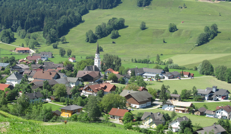 View of the village and the church, surrounded by countryside