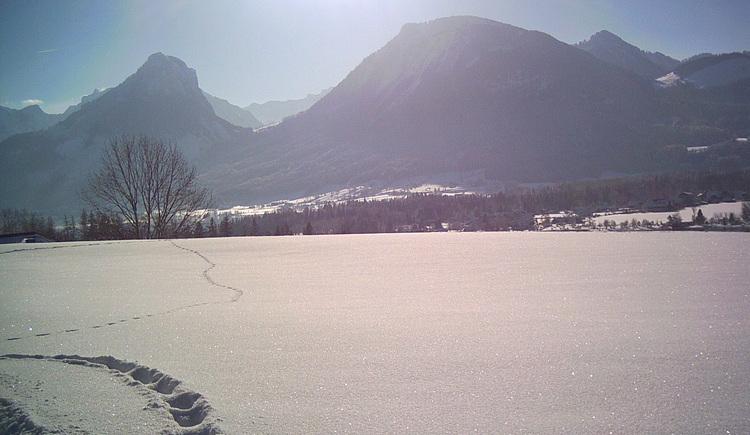 Blick von der Langlaufloipe in Ried auf den See