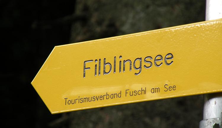 Wegschild zum Filbling (© Tourismusverband Faistenau)