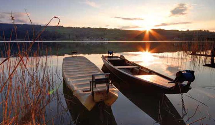 Boote auf dem See, im Vordergrund Schilf. (© Rupert M.)