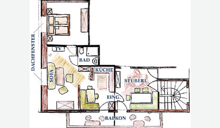 Blueprint of the holiday flat, room layout.